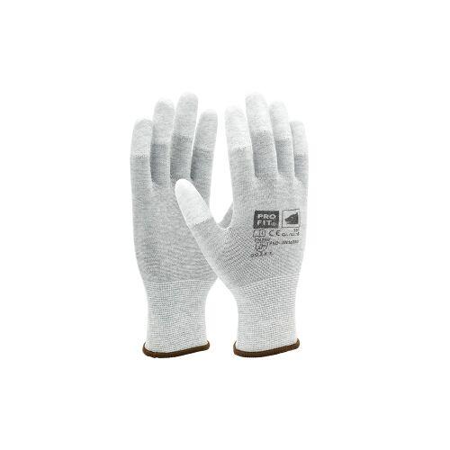 Fitzner GmbH & Co. KG Fitzner ESD Nylon-Feinstrickhandschuh, Atmungsaktive Handschuhe mit sicherem Griff, 1 Packung = 12 Paar, Größe: 6
