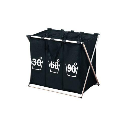 F. Anton Kesper GmbH Kesper Wäschesortierer mit 3er Einteilung, Faltbarer Wäschesammler zum Sortieren, Farbe: schwarz