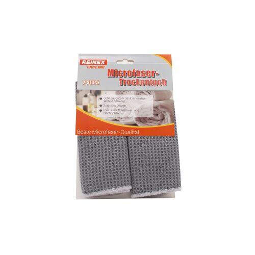 Reinex Chemie GmbH REINEX Mikrofaser-Trockentuch 40 x 30 cm, Ideal zum Abtrocknen und Nachpolieren, 1 Packung = 2 Stück, Farbe: grau