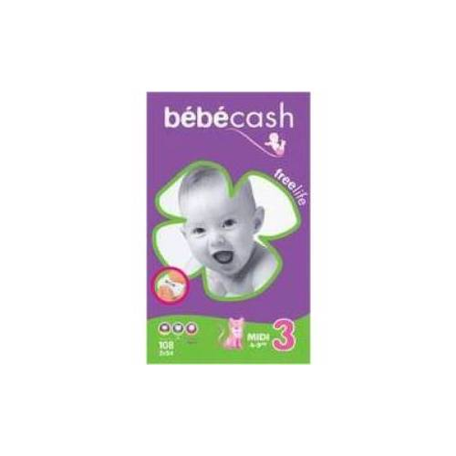 Bébé Cash Freelife Midi, Unisex-Babywindeln,  4-9 kg, 1 Packung = 54 Stück