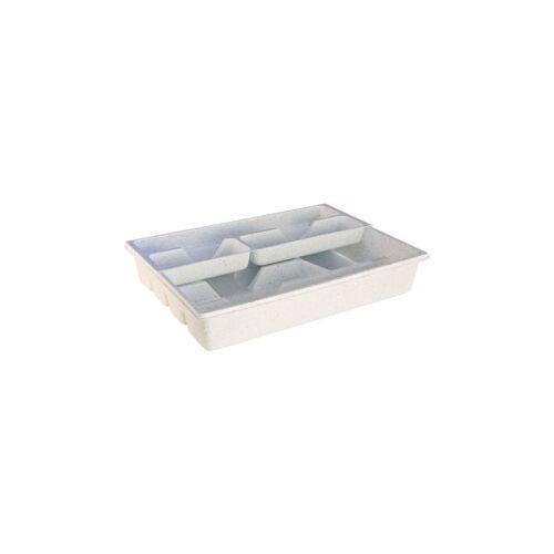 Teko-Plastic Kunstoffwerke E. Schröck GmbH Besteckkasten mit Schieber, Maße: 40 x 30 x 7 cm,, weiß