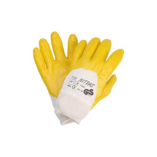 AS-Arbeitsschutz GmbH NITRAS Nitril Handschuhe, teilbeschichtet, mit Strickbund, gelb, 1 Paar, Größe: 9