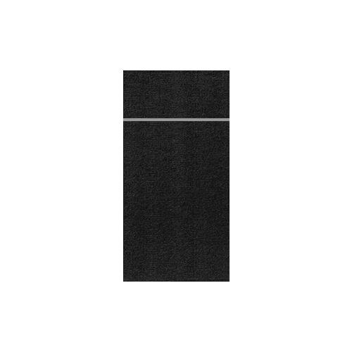 Duni GmbH & Co. KG DUNI Duniletto-Slim Bestecktasche, Serviettentasche aus hochertigem Material, Maße: 40 x 33 cm, 1 Karton = 4 x 65 Stück, schwarz