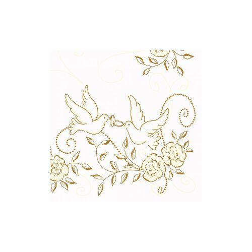 """Mank GmbH Tissue + Paper Products """"Mank Airlaid Servietten Festival """"""""Hochzeit"""""""", 40 x 40 cm, 1/4 Falz, 60 g, Farbe: creme-gold, 1 Karton = 6 x 50 Stück = 300 Servietten"""""""