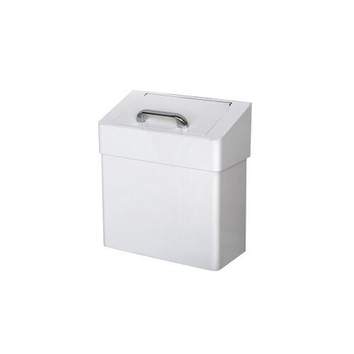 TEMCA GmbH & Co. KG. racon® Mülleimer MW cover lady, ca. 7 Liter, Geruchsdichter Mülleimer aus Metall, weiß lackiert, H 320 mm, B 290 mm, T 150 mm