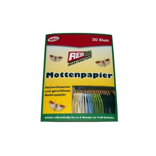 Reinex Chemie GmbH Reinex Kleidermottenpapier, Mottenschutz, 1 Doppelpackung = 20 Stück