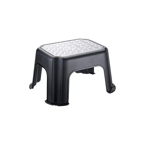 Rotho Kunststoff AG Rotho PASO Trittschemel, schwarz / silber metallic, Tritthocker aus Kunststoff, Maße (L x B x H): 431 x 358 x 238 mm