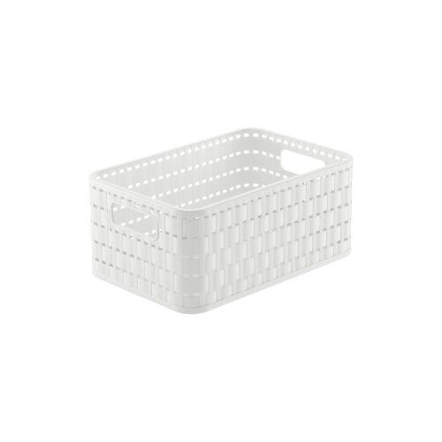 Rotho Kunststoff AG Rotho COUNTRY Aufbewahrungskorb, 4 Liter, Aufbewahrungsbox aus Kunststoff in moderner Rattan-Optik, Farbe: weiß
