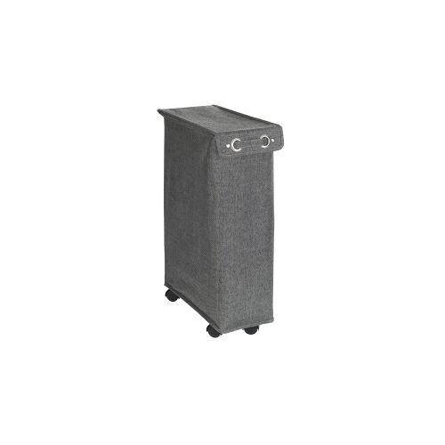 Wenko-Wenselaar GmbH & Co. KG WENKO Corno Prime Wäschesammler, 43 Liter, Platzsparender, schmaler Wäschesammler mit Deckel, Farbe: schwarz / weiß