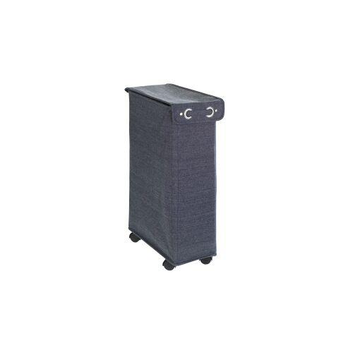 Wenko-Wenselaar GmbH & Co. KG WENKO Corno Prime Wäschesammler, 43 Liter, Platzsparender, schmaler Wäschesammler mit Deckel, Farbe: blau