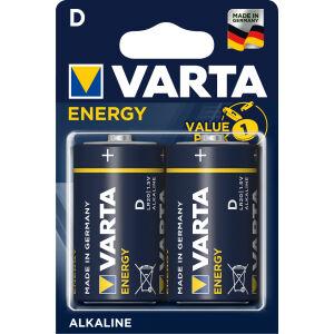 Varta ENERGY D Batterie, Alkali, Alkaline-Batterie für den einfachen Grundbedarf, 1 Packung = 2 Stück, Monozelle
