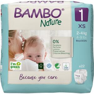 Abena Re-Seller GmbH Bambo® Windeln Nature, Atmungsaktive Windel die sich jedem Bewegungsdrang anpasst, Größe 1, 2 - 4 kg, 1 Packung = 22 Windeln
