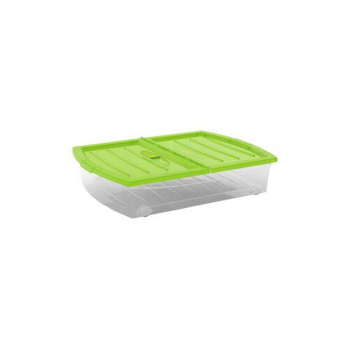 Keter Germany GmbH KIS Spinning Box Unterbettbox XL, 60 Liter, Unterbettbox mit Rollen, Farbe: grün-transparent