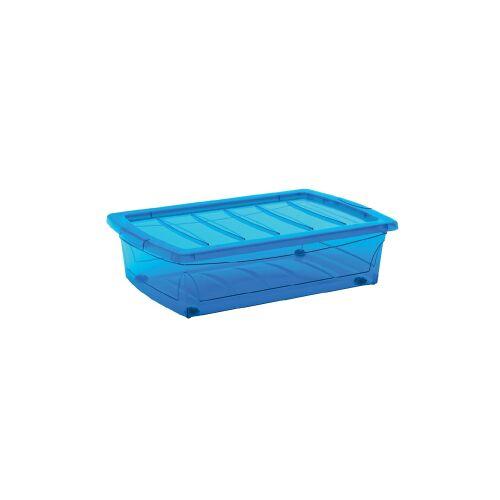 Keter Germany GmbH KIS Spinning Box Unterbettbox M, 30 Liter, Unterbettbox mit Rollen, Farbe: blau-transluzent