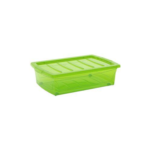 Keter Germany GmbH KIS Spinning Box Unterbettbox M, 30 Liter, Unterbettbox mit Rollen, Farbe: grün-transluzent