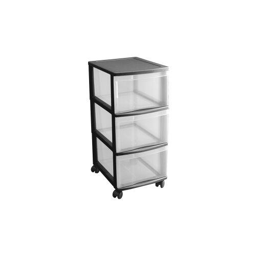 Rotho Kunststoff AG Rotho OPTIMO Tower Container, Mobiler Rollcontainer aus Kunststoff, 3 Schübe, L38,5 x B30 x H65,5 cm, transparent / schwarz