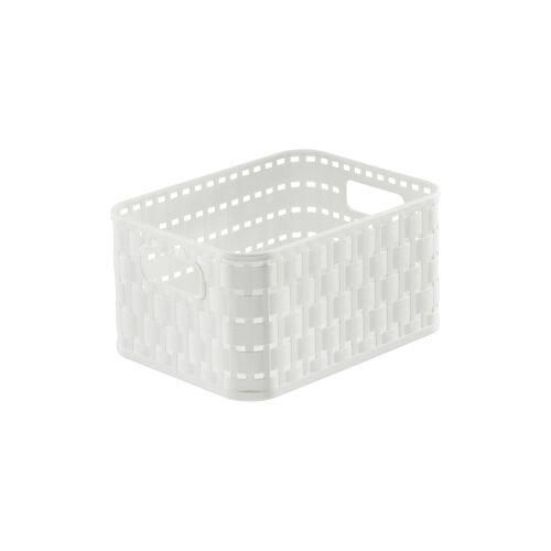 Rotho Kunststoff AG Rotho COUNTRY Aufbewahrungskorb, 2 Liter, 18,3 x 13,7 x 0,98 cm, Aufbewahrungsbox aus Kunststoff in moderner Rattan-Optik, Farbe: weiß