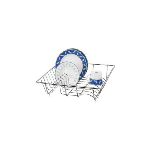 Wenko-Wenselaar GmbH & Co. KG WENKO Geschirrabtropfkorb, Praktischer Abwaschhelfer für Zuhause, im Garten oder beim Camping, Farbe: Silber, glänzend