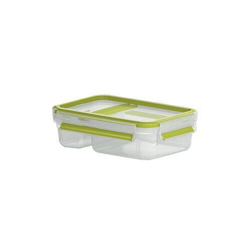 EMSA (Groupe SEB Deutschland GmbH) EMSA Clip & Go Joghurtbox, rechteckig, 600 ml , Yoghurt & Dip Box mit Knick-Ecke, Farbe: transparent / grün