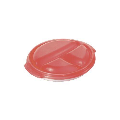 Rotho Kunststoff AG Rotho CLEVER Mikrowellen-Teller, 3-geteilter Teller, Füllmenge: 750 ml, Farbe: porcelain/ papaya rot