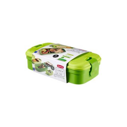Curver Luxembourg S.a.r.l CURVER LUNCH & GO Lunchbox inklusive Besteck, Lunchdose aus Kunststoff, Farbe: grün