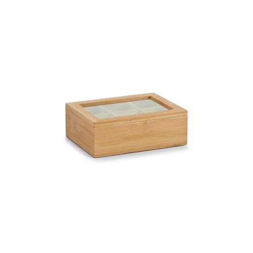 Zeller Present Handels GmbH Zeller Bamboo Teebeutelbox, Teebox zur Aufbewahrung verschiedenster Teebeutel geeignet, Maße: 21 x 16 x 7,5 cm
