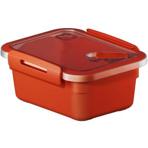 Rotho Kunststoff AG Rotho MEMORY Mikrowellen-Dose, Mikrowellen-Behälter zum Aufwärmen, Transportieren oder Frischhalten, Füllmenge: 600 ml, 150 x 120 x 68 mm, PAPAYA rot