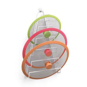 Metaltex Deutschland GmbH Metaltex Kiwi Topfdeckelhalter, plastifiziert, Deckelaufbewahrung aus LDPE für sechs Deckel, Maße: 23 x 7 x 42 cm