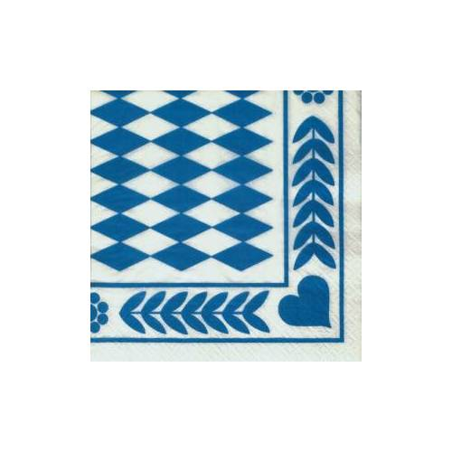 "PAPSTAR  GmbH ""Papstar Dekoservietten, 1/4-Falz, 33 cm x 33 cm, 3-lagig, Motiv: """"Bayrisch Blau"""", 1 Karton = 15 Packungen à 20 Stück"""