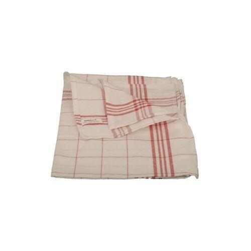 Geschirrtuch, 100% Baumwolle, 1 Karton = 10 x 10 = 100 Stück, Maße: 50 x 70 cm, Farbe: Weiß/Rot