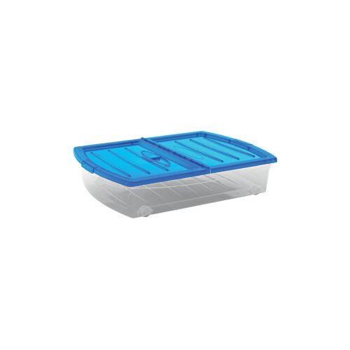 Keter Germany GmbH KIS Spinning Box Unterbettbox XL, Unterbettbox mit Rollen, Farbe: blau-transluzent-transparent