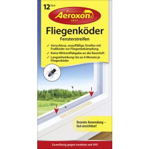 Aeroxon Insect Control GmbH Aeroxon® Fliegenköder Fensterstreifen, Wirkstoffhaltige Fraßköder bekämpfen Fliegen im Innenraum, 1 Packung = 12 Stück