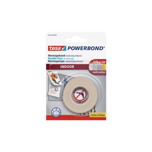 tesa SE tesa Powerbond® Indoor Klebeband, Starkes Montageklebeband , 1 Rolle = 1,5 m x 19 mm