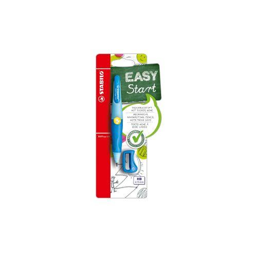 STABILO International GmbH STABILO® EASYergo 3.15 Druckbleistift + Spitzer, Ergonomischer Bleistift speziell für Linkshänder zum Schreibenlernen, 1 Set = 1 Druckbleistift + Spitzer + Namensschild, blau