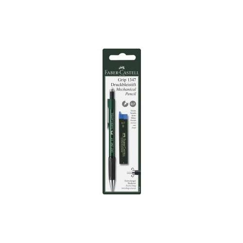 Faber-Castell Aktiengesellschaft Faber-Castell Grip Druckbleistift, 0,7 mm, Bleistift gewährleistet ein angenehmes Schreibgefühl, 1 Set = 1 Stift + 12 Minen, farbig sortiert