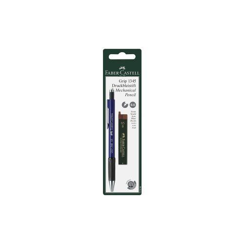 Faber-Castell Aktiengesellschaft Faber-Castell Grip Druckbleistift, 0,5 mm, Bleistift gewährleistet ein angenehmes Schreibgefühl, 1 Set = 1 Stift + 12 Minen, farbig sortiert