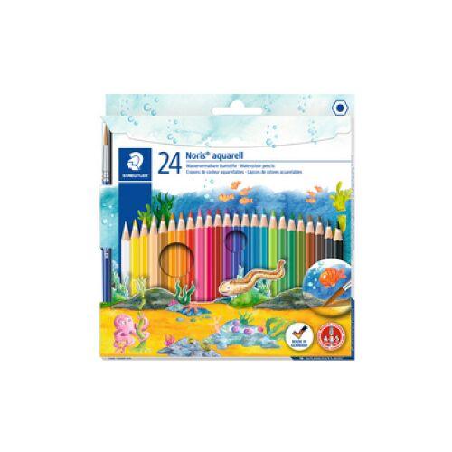 Staedtler Noris® aquarell Buntstift, Farbstift im klassischen Sechskantprofil mit wasservermalbarer Mine, 1 Packung = 24 Stück, farbig sortiert