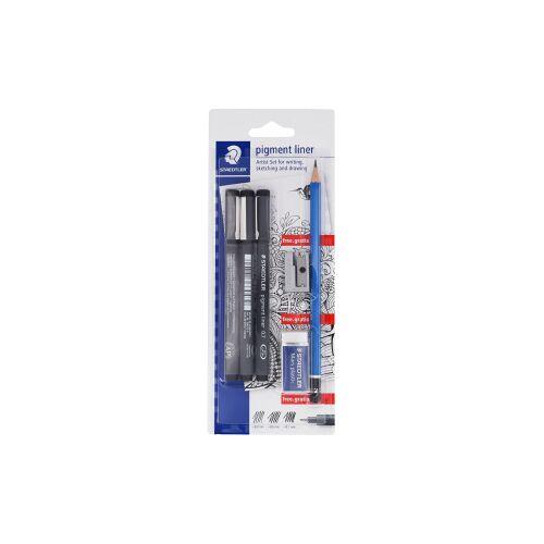 Staedtler pigment liner Fineliner, Zeichenstifte in sortierten Linienbreiten zum Schreiben, Skizzieren und Zeichnen, 1 Set = 3x Fineliner + 1 Bleistift + 1 Radierer + 1 Spitzer
