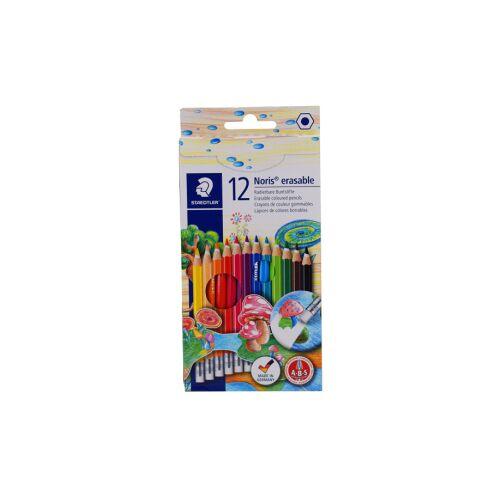 Staedtler Noris® radierbarer Farbstift, Buntstift im klassischen Sechskantprofil mit radierbarer Mine, 1 Packung = 12 Stück, farbig sortiert