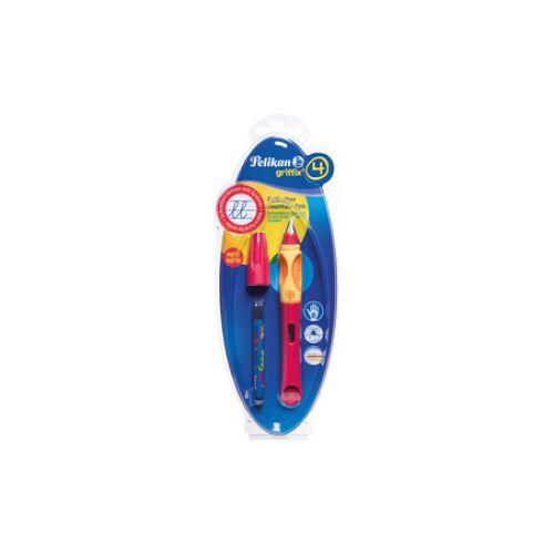 Pelikan griffix Füllfederhalter, für Rechtshänder, Schreiblernstift mit ergonomischer Griffzone, Farbe: rot