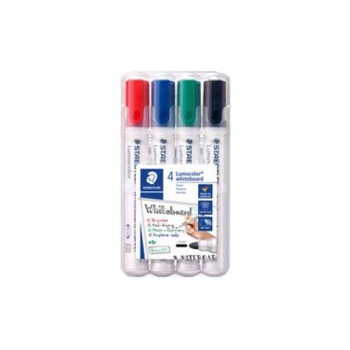 Staedtler Staedler Lumocolor 351 Whiteboard-Marker Set, Rundspitze, Schnelltrocknender Marker, trocken abwischbar, 1 Set = 4 Marker