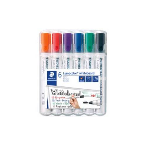 Staedtler Staedler Lumocolor 351 Whiteboard-Marker Set, Rundspitze, Schnelltrocknender Marker, trocken abwischbar, 1 Set = 6 Marker