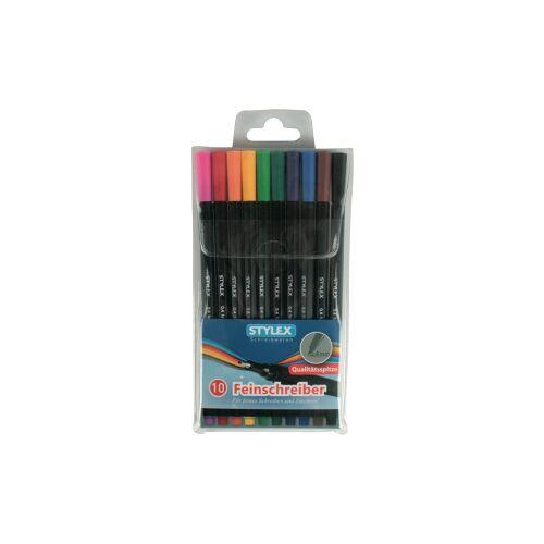 STYLEX Schreibwaren GmbH STYLEX® Fineliner, bunt, Fineliner ideal für feines Schreiben, Zeichnen und Skizzieren, 1 Packung = 10 Stück