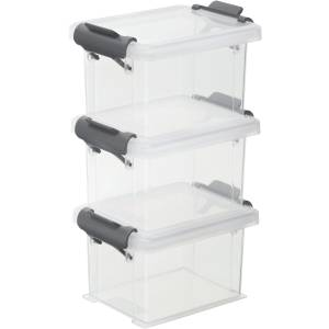 Rotho Kunststoff AG Rotho FUNCENTER Aufbewahrungsboxen, 3-teilig, Aus hochwertigem Kunststoff, Maße: 87 x 65 x 155 mm, Farbe: anthrazit