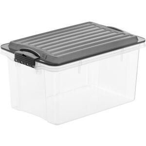 Rotho Kunststoff AG Rotho COMPACT Stapelbox, 4,5 Liter, Aufbewahrungsbox mit enormen Fassungsvermögen und beidseitig verwendbarem Deckel, Farbe: transparent / anthrazit
