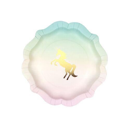 Vegaoo Pastell Einhorn-Teller rosa-grün-gold