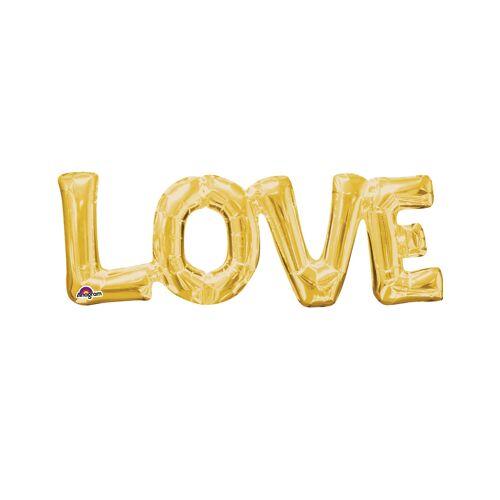 Vegaoo Goldener Alu-Luftballon LOVE