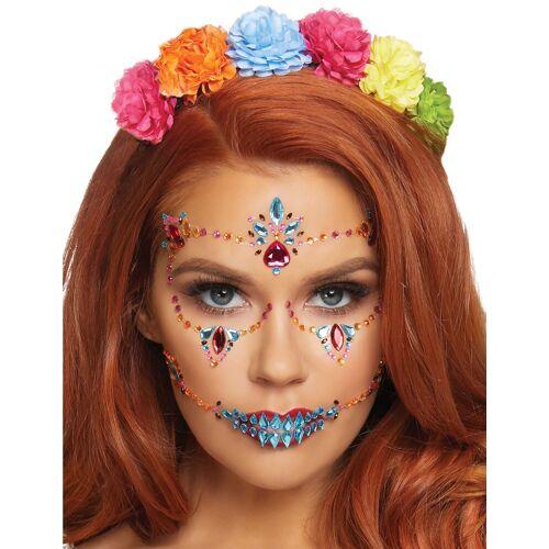 Vegaoo Dia de los muertos-Glitzersteine Make-up idee bunt