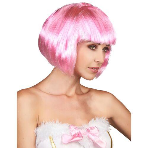 Vegaoo Bob-Damenperücke Pagenkopf mit Pony pink