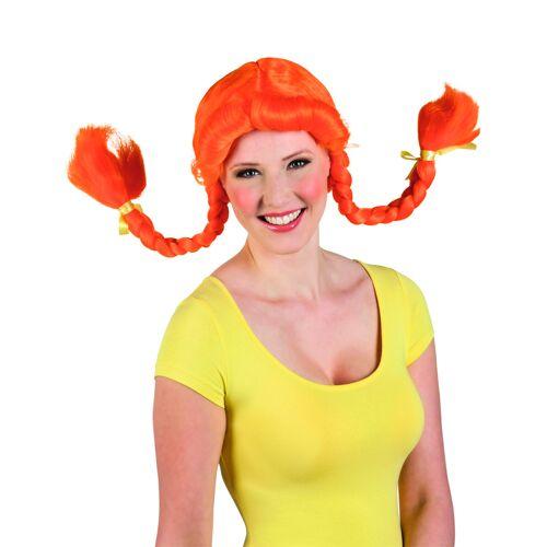Vegaoo Damenperücke mit orangenen Zöpfen